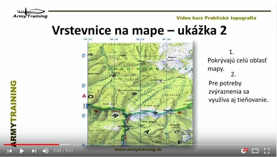 vrstevnice v mape armytraining
