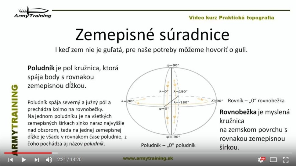 zemepisné suradnice video kurz armytraining