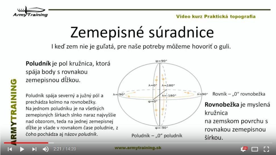 zemepisné suradnice video kurz armytraining