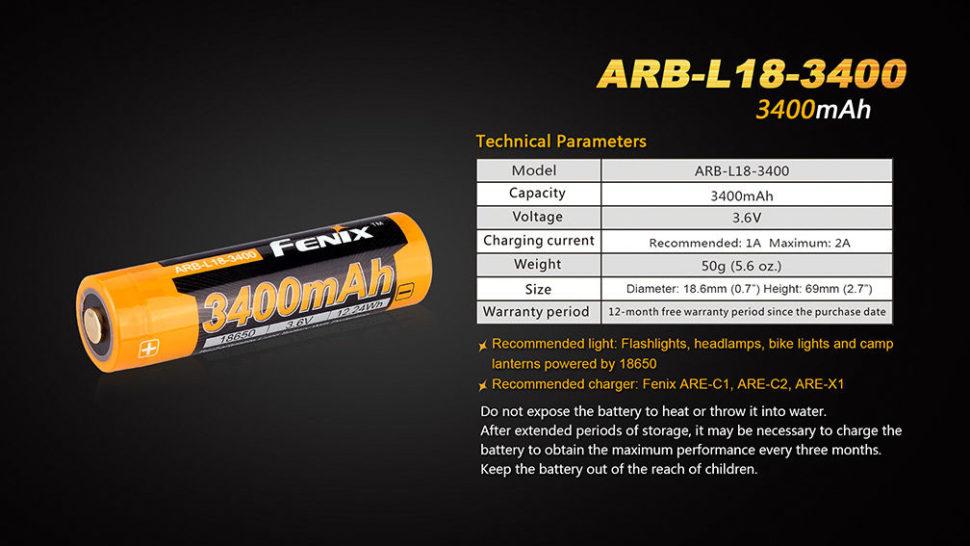 vlastnosti baterii fenix 1